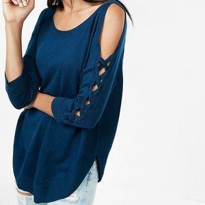 NWOT Lace-Up Cold Shoulder Circle Hem Sweater