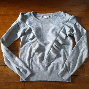 Worn once, cute gap sweater with ruffle
