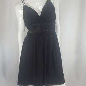 Vintage TESS Black Beaded Flowy Dress 6