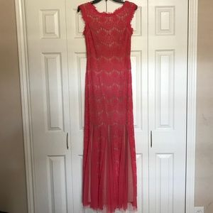 Long, Coral colored lace dress, size 4