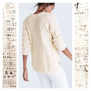 Madewell White Classic Cable Pullover Sweater