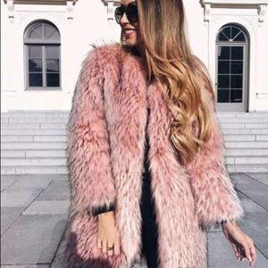ZARA Blush Pink Faux Fur Coat