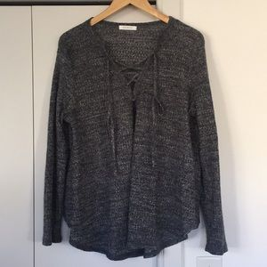 Tie Up Gray Waffle Tunic with Suede Patch Sleeves