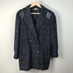 VTG 80s leather charcoal wool Union Made coat