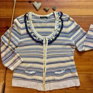 Embellished Striped Cardigan