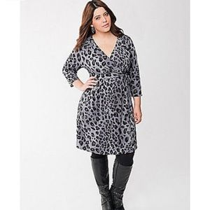 22/24 3X Lane Bryant Leopard Print Wrap Dress