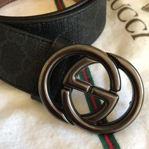 f82028118df Gucci Accessories - Lk New Gucci GGLogo Black Gray Monogram Lthr Belt