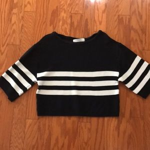 🍁Zara Cut-Off Knit Striped Sweater🍁