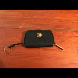 Tory Burch black change purse with key ring