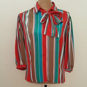 Vintage candy stripe pussybow necktie multicolor
