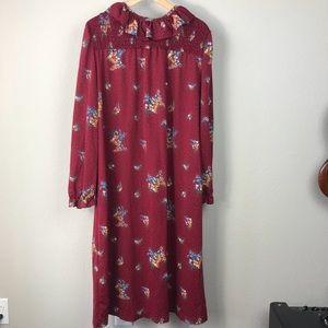 VTG 80s Montgomery Ward maroon floral smock dress
