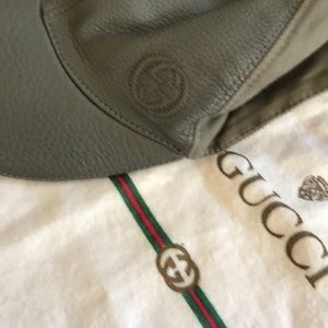 Lk New GUCCI Gray Leather GG LOGO Adjustable Hat
