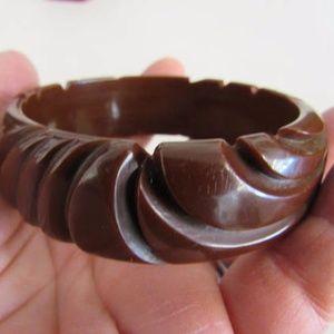 Vintage Deep Carved Brown BAKELITE Bangle