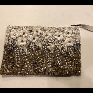 Anthropologie beaded and sequined clutch