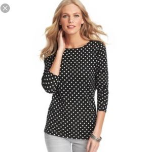 LOFT Polka Dot Cotton Top with Shoulder zip