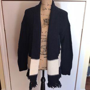 Loft women's sweater, navy and white