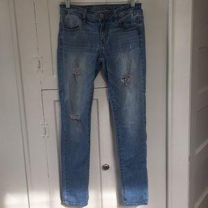 American Eagle Destroyed Light Wash Skinny Jeans