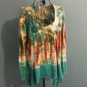 Trixie boho tie dye embellished top