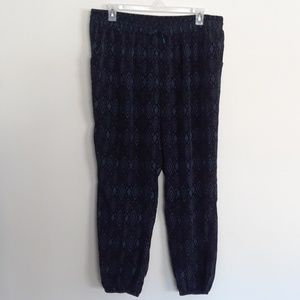 FOREVER 21+ BLUE TRIBAL JOGGER PANTS