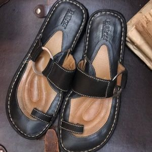 Born Leather comfy slide sandals.