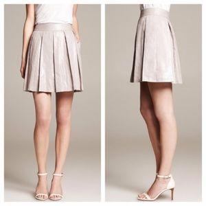 Banana Republic 0P Silver Foil Pleated Skirt