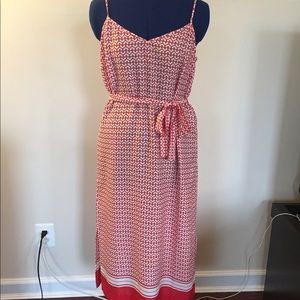 Heart print shift dress with belt.