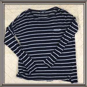 Vince long sleeve striped top with front pocket