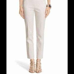 WHBM 0R Gold/Cream Jacquard Ankle Pants