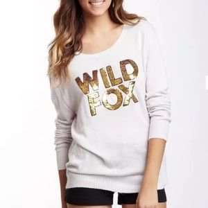 WILDFOX Couture Gold Sequin Graphic Sweater