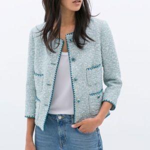 Light blue Zara tweed jacket