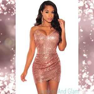 Rose Gold Sexy Sequin Ruched Dress
