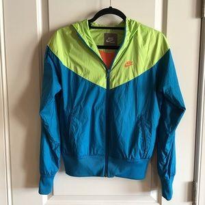 RARE! Nike blue lime green & orange windbreaker
