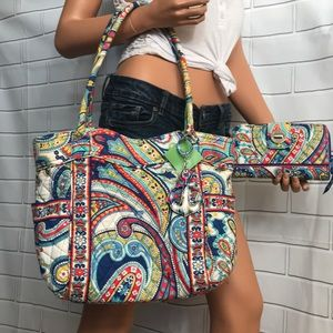 NWT Vera Bradley Glenna tote + matching wallet