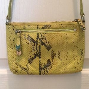 Cole Haan lime green snakeskin purse