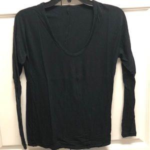 Vince black cotton long sleeve tee, size S