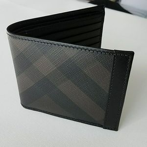 Burberry black and brown leather wallet