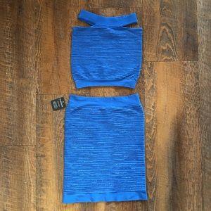 NWT Bebe 2 piece blue glitter bodycon crop top set
