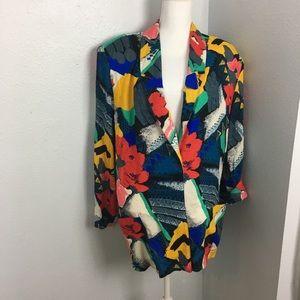 Vintage 1990s Wild Floral Geometric Blazer