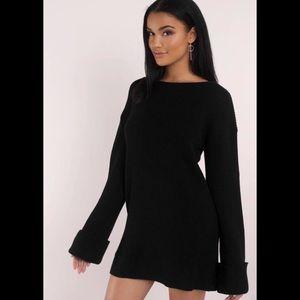 Tobi Black Bell Sleeve Sweater Dress