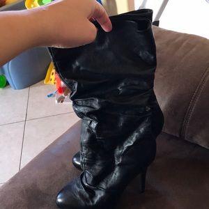 Black mid calf boots
