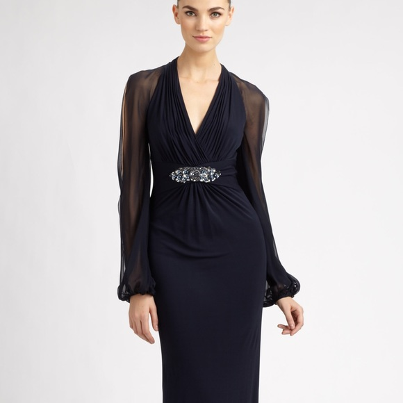 David Meister Dresses | Navy Gown Wembellishment | Poshmark