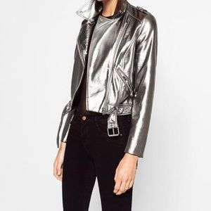 Zara silver Moto jacket in good condition