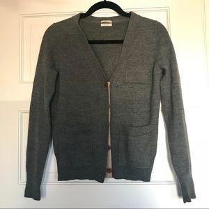 Madewell grey wool cardigan, S