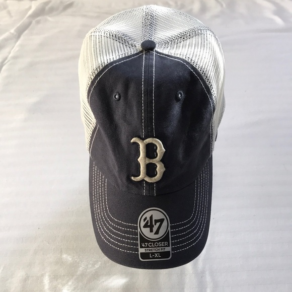 official photos e3002 58d1a NEW Fitted Prospect  47 Red Sox Navy Mesh Hat