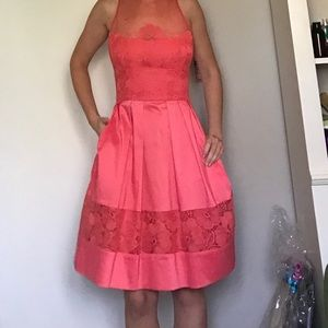 Maggy London size 6 Pink Embroidered Fit & Flare