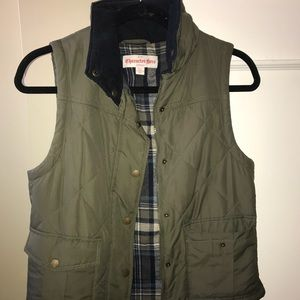 Army green vest with plaid lining