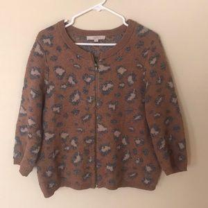 Jacquard animal pattern zip front cardigan