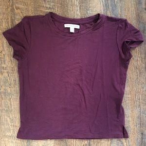 Super soft cropped t shirt tshirt maroon burgundy