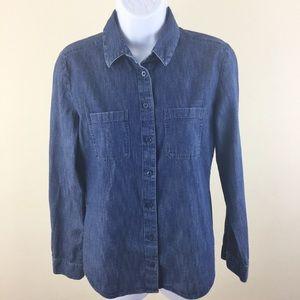 🆕LOFT Ann Taylor Button Down Soft Denim Shirt XS