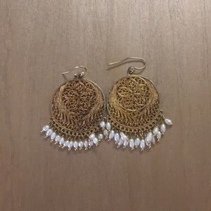 Anthropologie Pearl Medallion Earrings